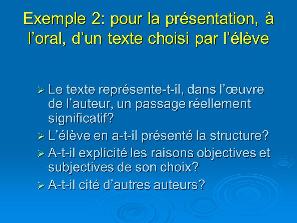 Exemple 2: pour la présentation, à l'oral, d'un texte choisi par l'élève