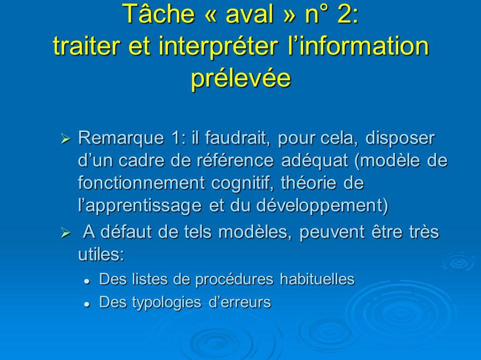 Tâche « aval » n° 2: traiter et interpréter l'information prélevée