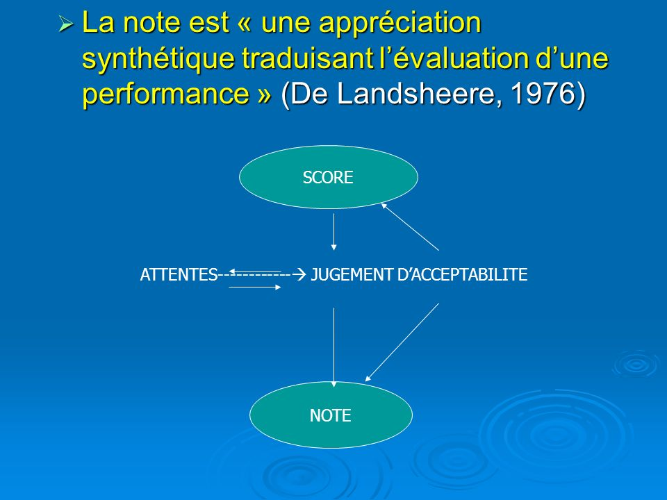 La note est « une appréciation synthétique traduisant l'évaluation d'une performance » (De Landsheere, 1976)
