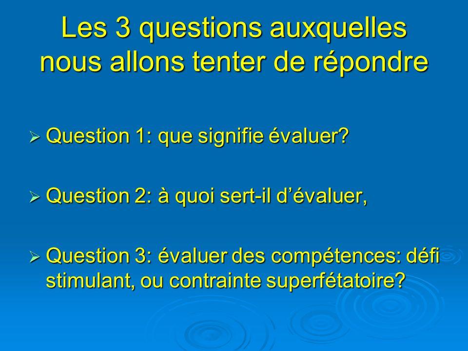 Les 3 questions auxquelles nous allons tenter de répondre