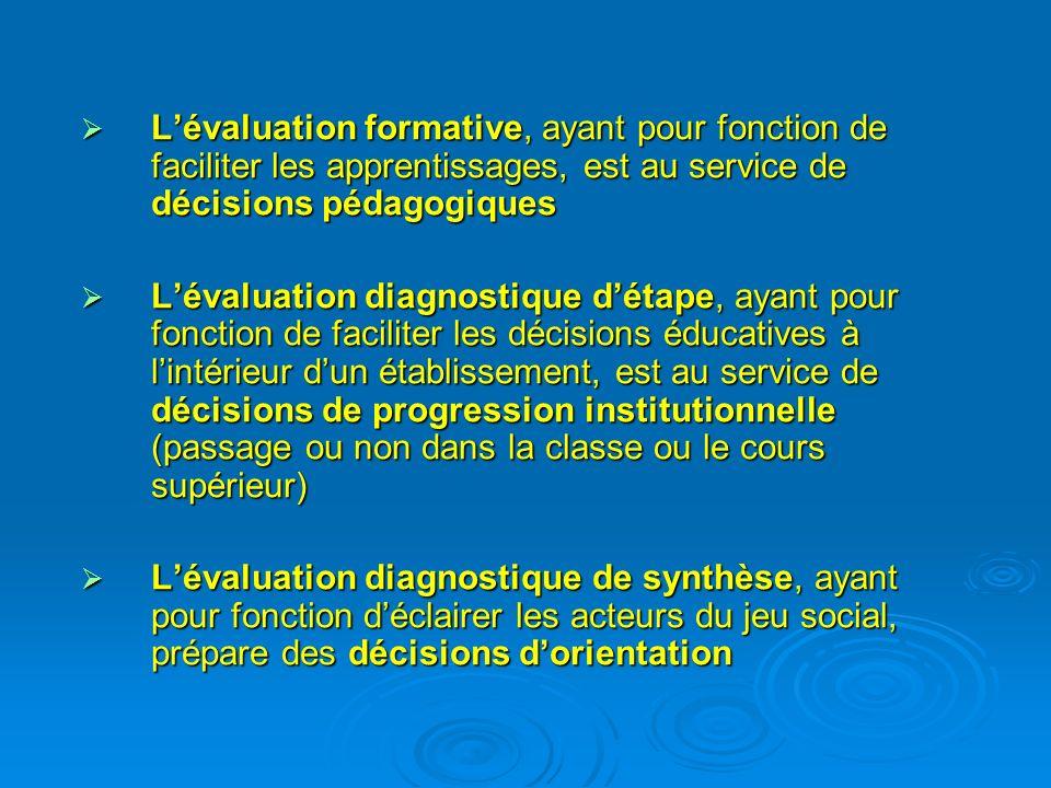 L'évaluation formative, ayant pour fonction de faciliter les apprentissages, est au service de décisions pédagogiques