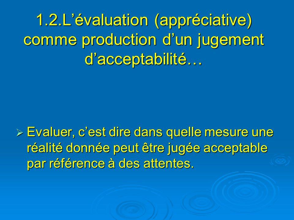 1.2.L'évaluation (appréciative) comme production d'un jugement d'acceptabilité…