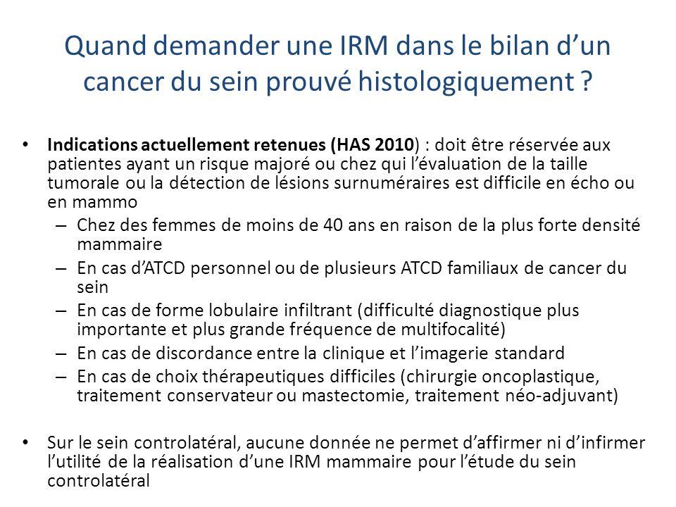 Quand demander une IRM dans le bilan d'un cancer du sein prouvé histologiquement