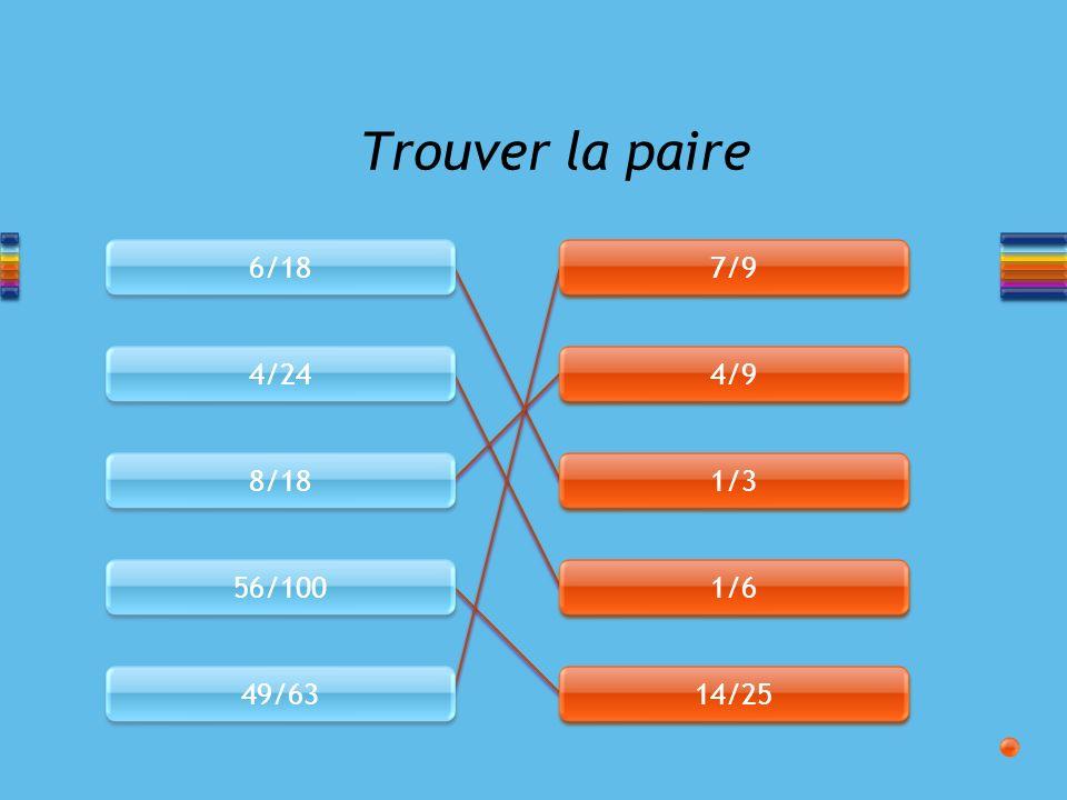 Trouver la paire 6/18 7/9 4/24 4/9 8/18 1/3 56/100 1/6 49/63 14/25