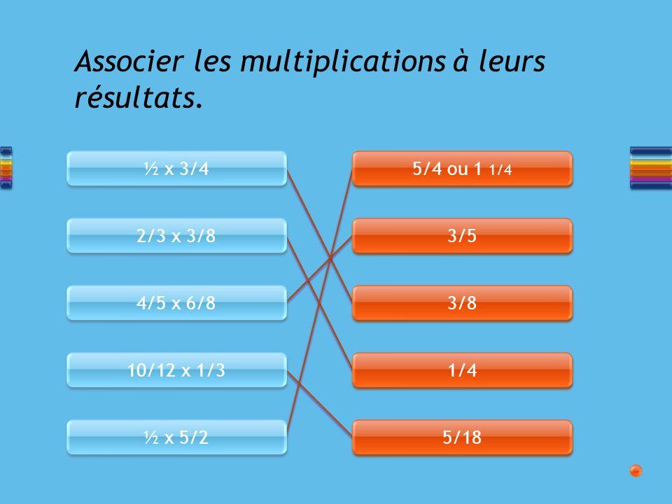 Associer les multiplications à leurs résultats.