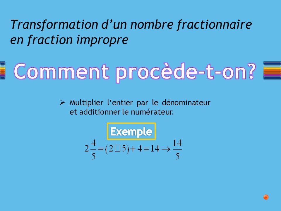 Transformation d'un nombre fractionnaire en fraction impropre
