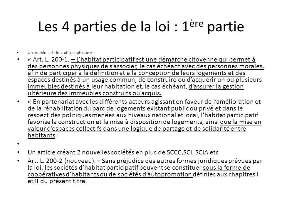 Les 4 parties de la loi : 1ère partie