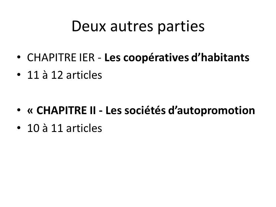 Deux autres parties CHAPITRE IER - Les coopératives d'habitants