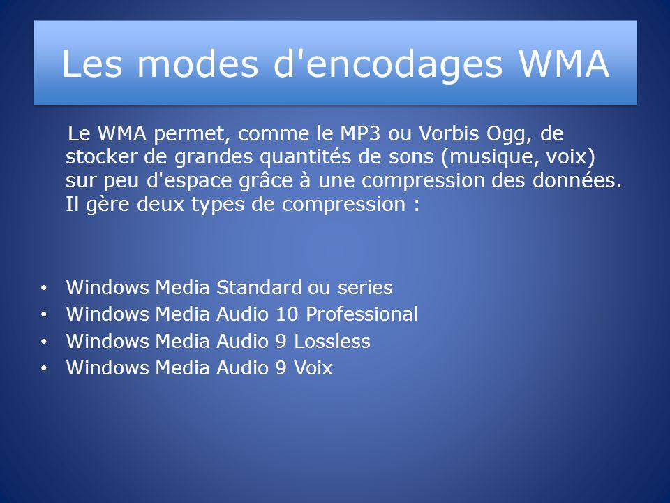 Les modes d encodages WMA