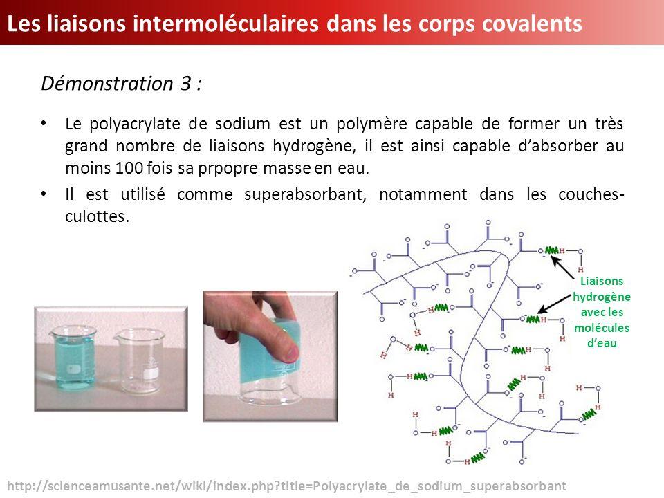 Liaisons hydrogène avec les molécules d'eau