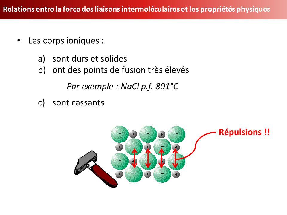 ont des points de fusion très élevés Par exemple : NaCl p.f. 801°C