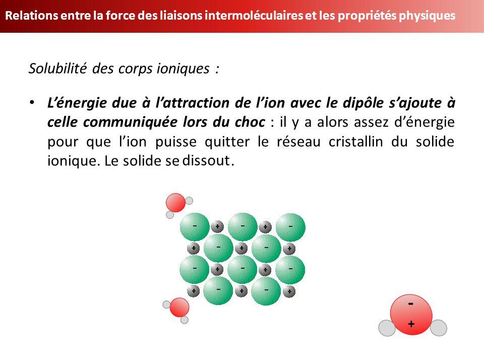 - Solubilité des corps ioniques :