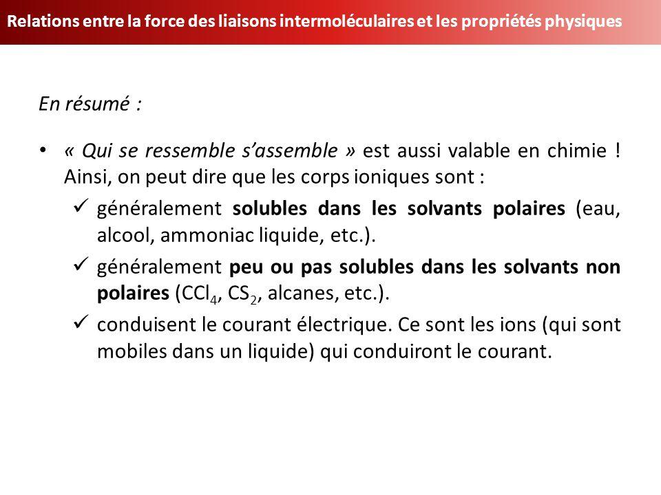 Relations entre la force des liaisons intermoléculaires et les propriétés physiques