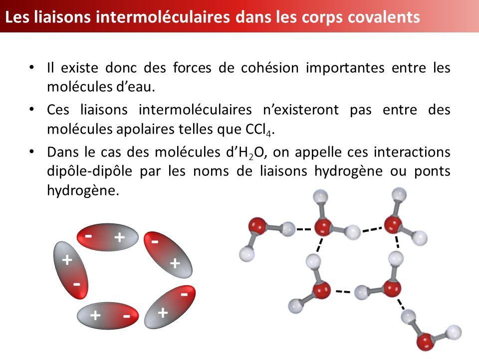 - + Les liaisons intermoléculaires dans les corps covalents