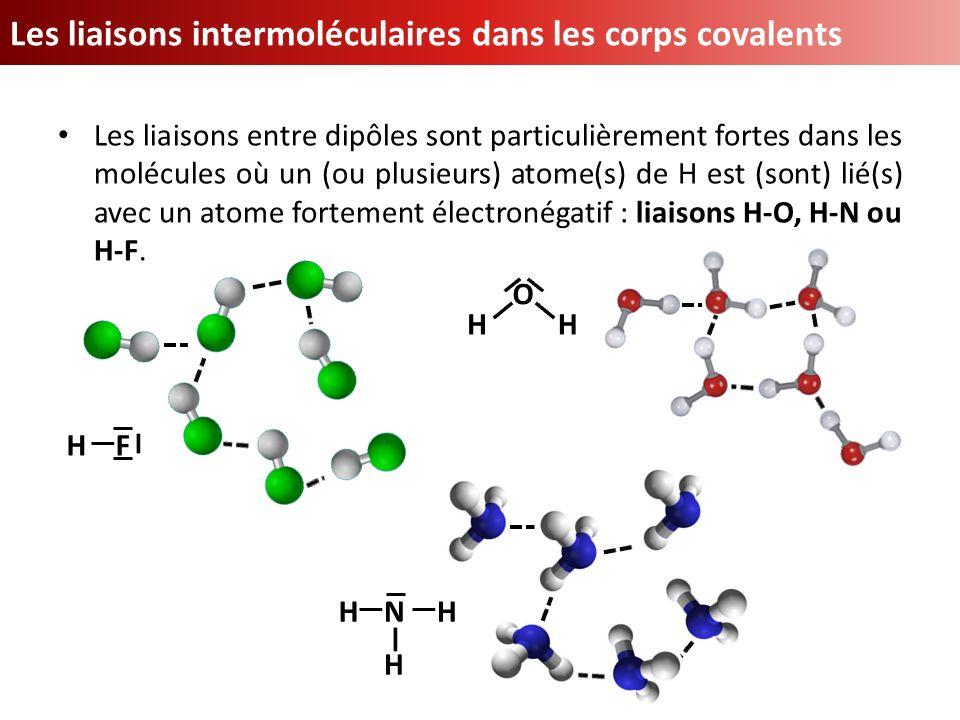 Les liaisons intermoléculaires dans les corps covalents