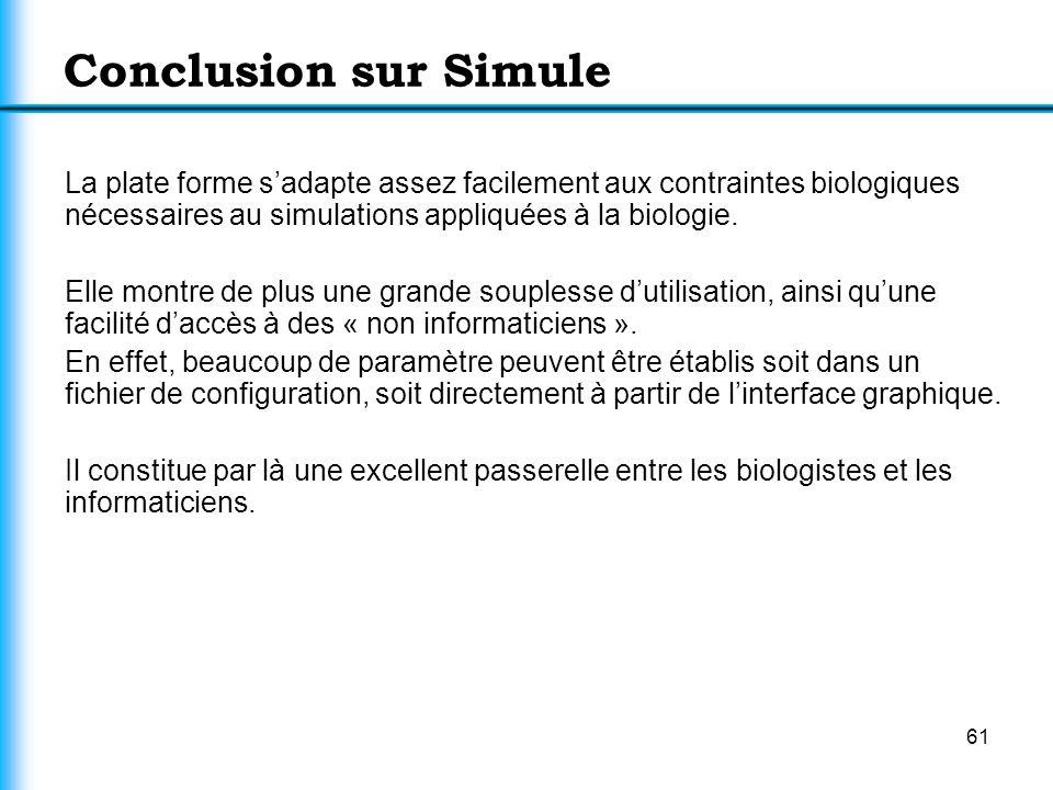 Conclusion sur Simule La plate forme s'adapte assez facilement aux contraintes biologiques nécessaires au simulations appliquées à la biologie.