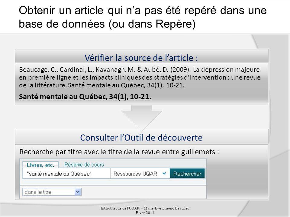 Obtenir un article qui n'a pas été repéré dans une base de données (ou dans Repère)
