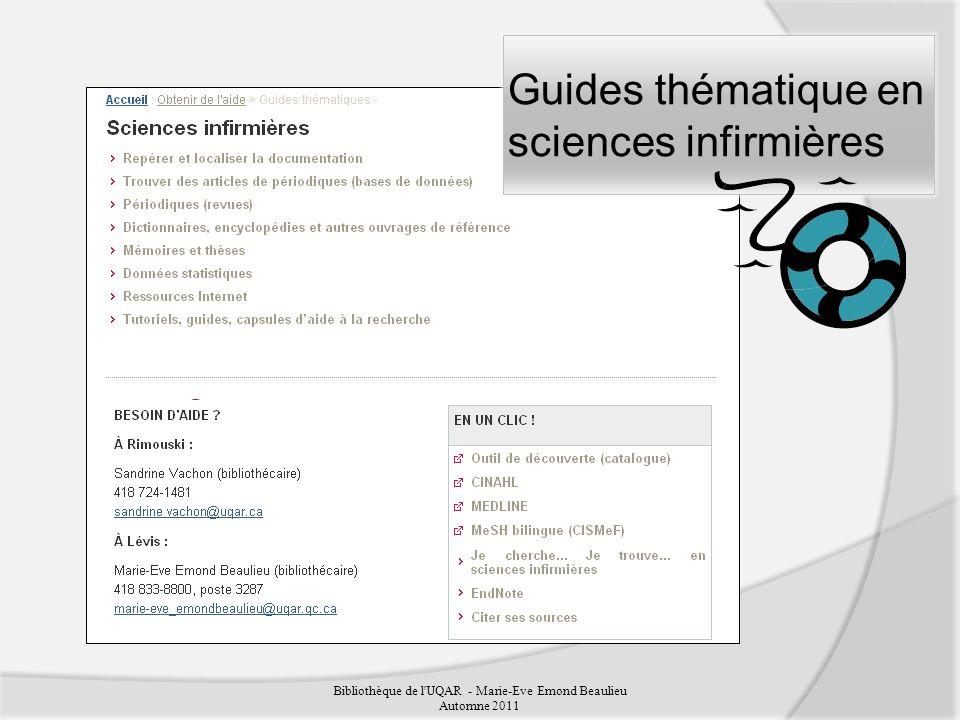 Guides thématique en sciences infirmières