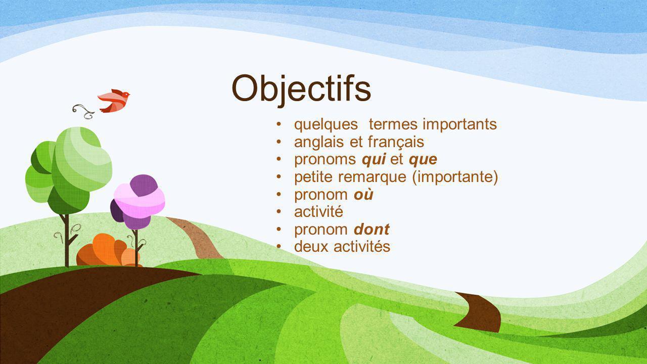 Objectifs quelques termes importants anglais et français