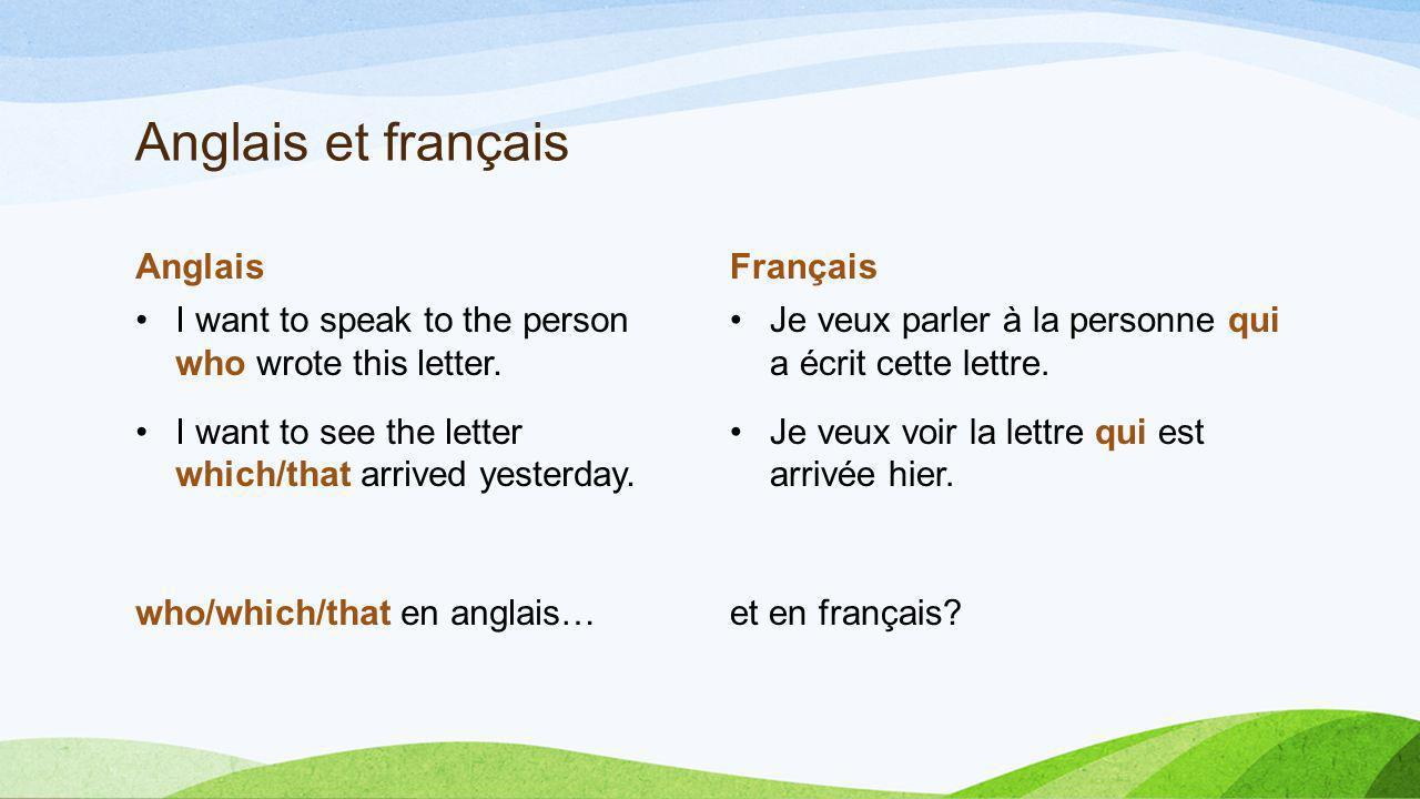 Anglais et français Anglais Français