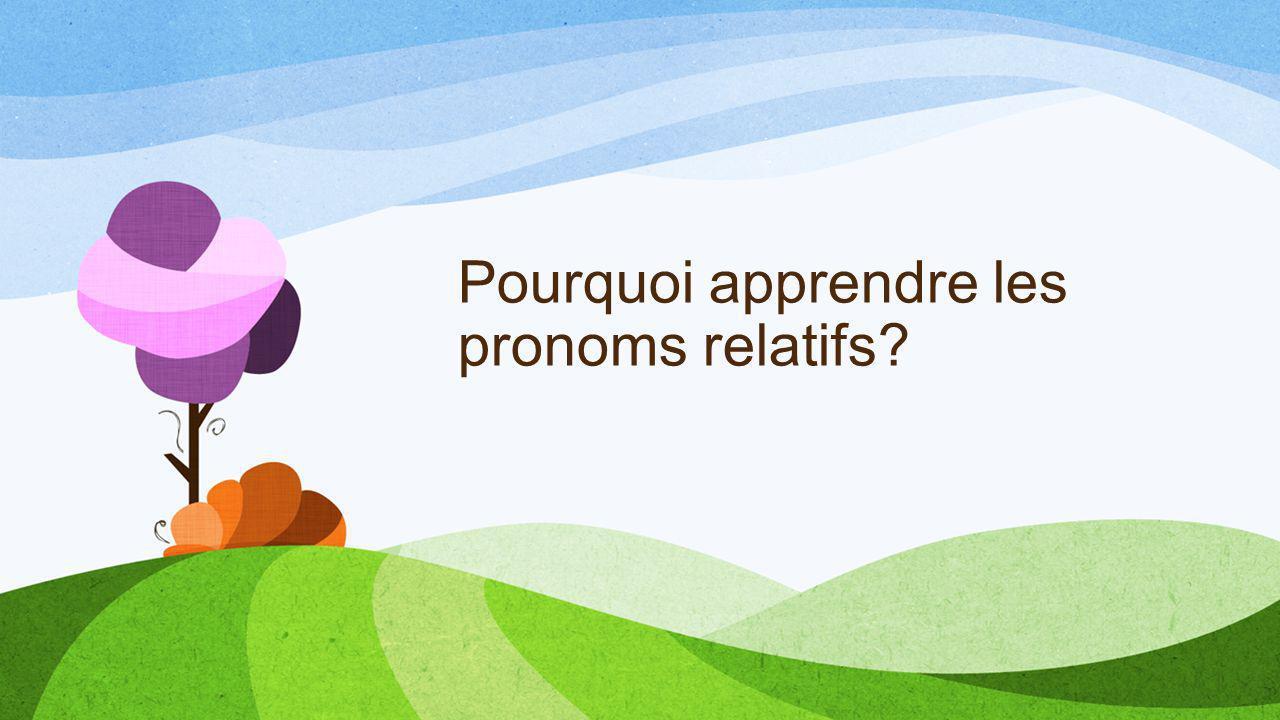 Pourquoi apprendre les pronoms relatifs