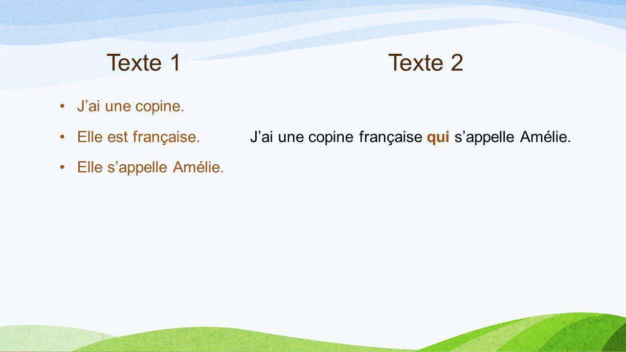 Texte 1 Texte 2 J'ai une copine. Elle est française.