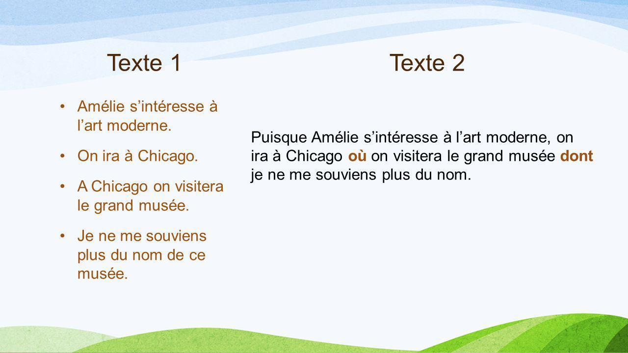 Texte 1 Texte 2 Amélie s'intéresse à l'art moderne.