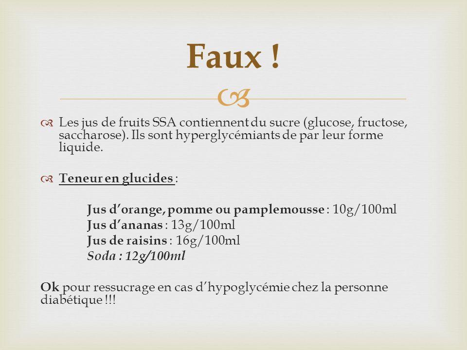 Faux ! Les jus de fruits SSA contiennent du sucre (glucose, fructose, saccharose). Ils sont hyperglycémiants de par leur forme liquide.