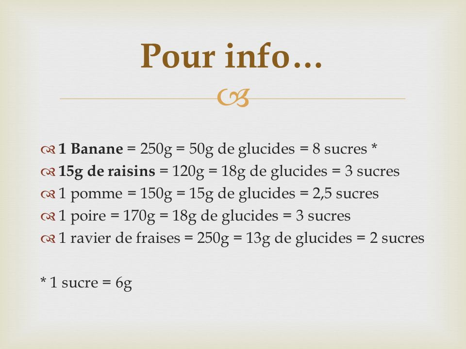 Pour info… 1 Banane = 250g = 50g de glucides = 8 sucres *
