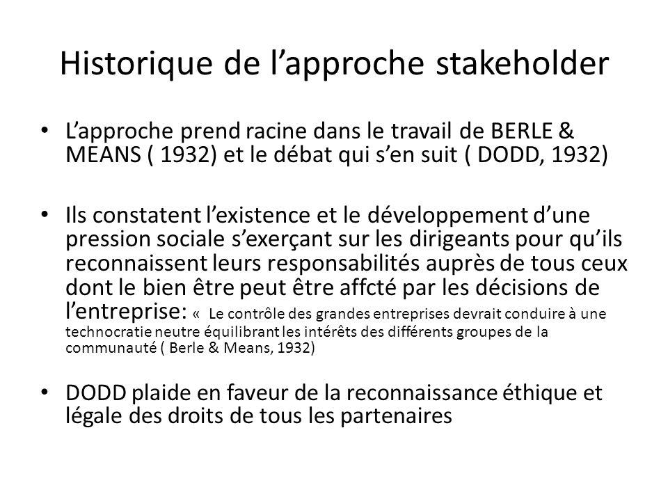 Historique de l'approche stakeholder