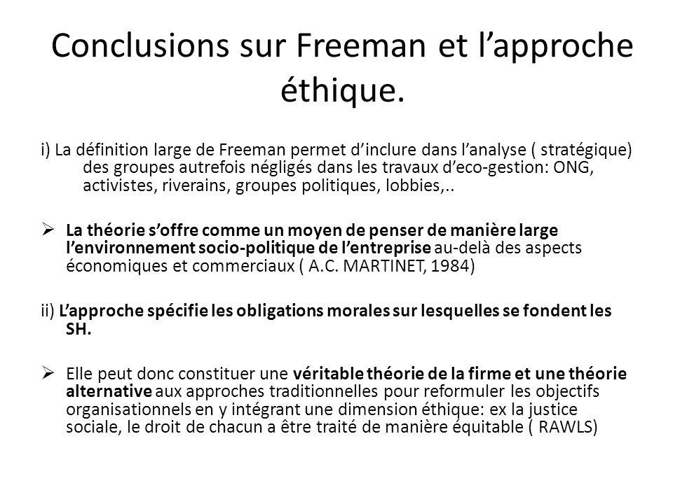 Conclusions sur Freeman et l'approche éthique.