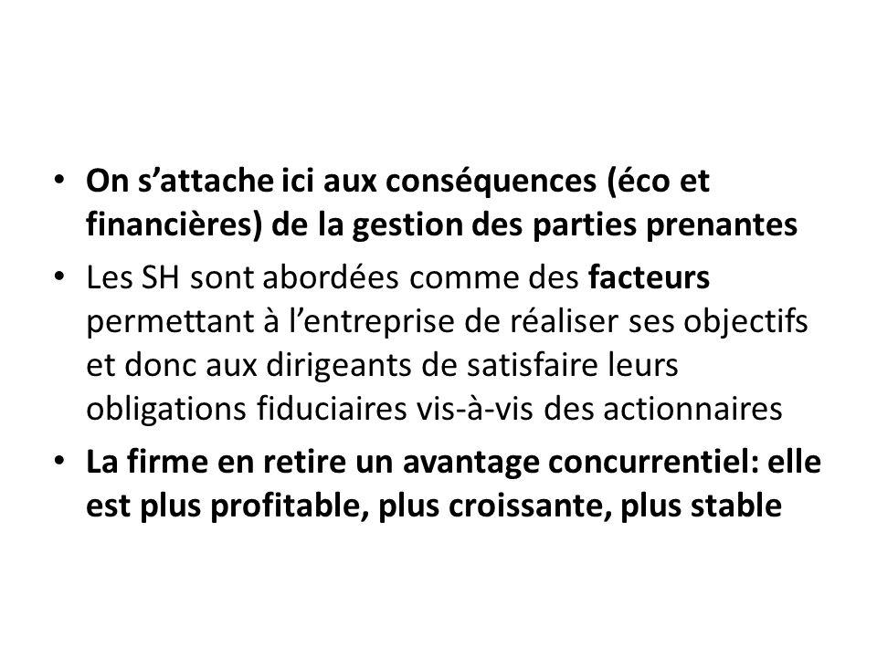 On s'attache ici aux conséquences (éco et financières) de la gestion des parties prenantes