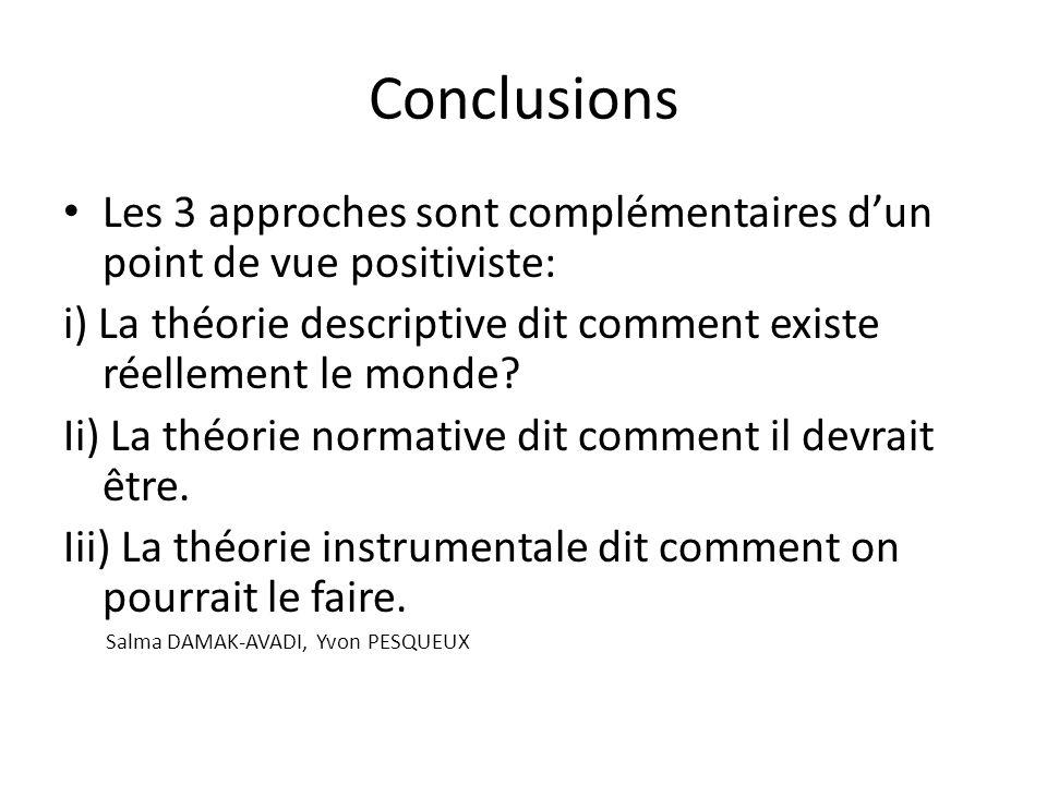 Conclusions Les 3 approches sont complémentaires d'un point de vue positiviste: i) La théorie descriptive dit comment existe réellement le monde
