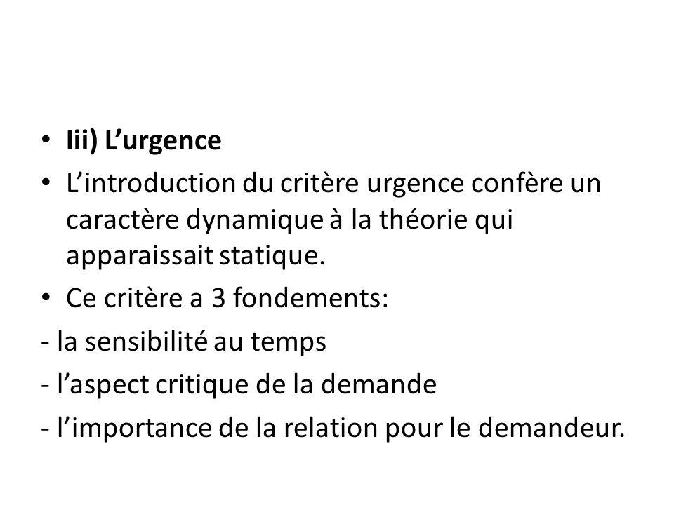 Iii) L'urgence L'introduction du critère urgence confère un caractère dynamique à la théorie qui apparaissait statique.