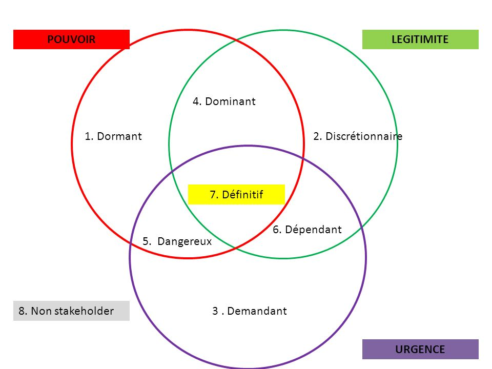 POUVOIR LEGITIMITE. 4. Dominant. 1. Dormant. 2. Discrétionnaire. 7. Définitif. 6. Dépendant. 5. Dangereux.