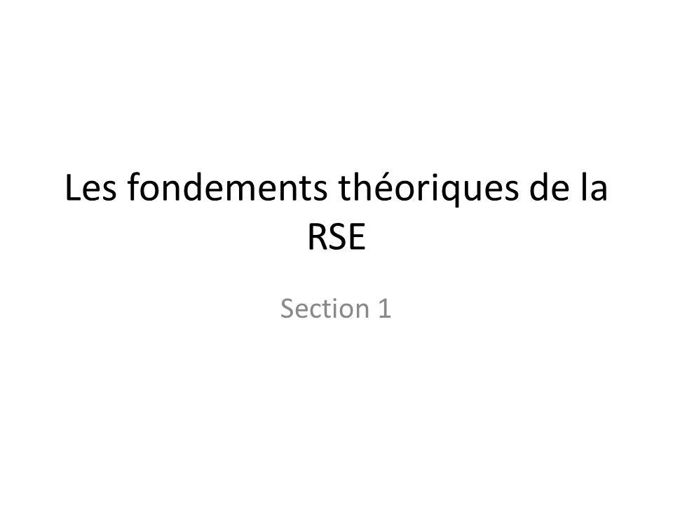 Les fondements théoriques de la RSE