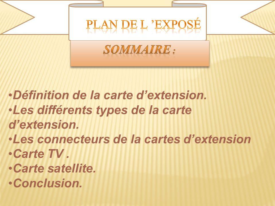 Plan de l 'exposé Sommaire : Définition de la carte d'extension. Les différents types de la carte d'extension.