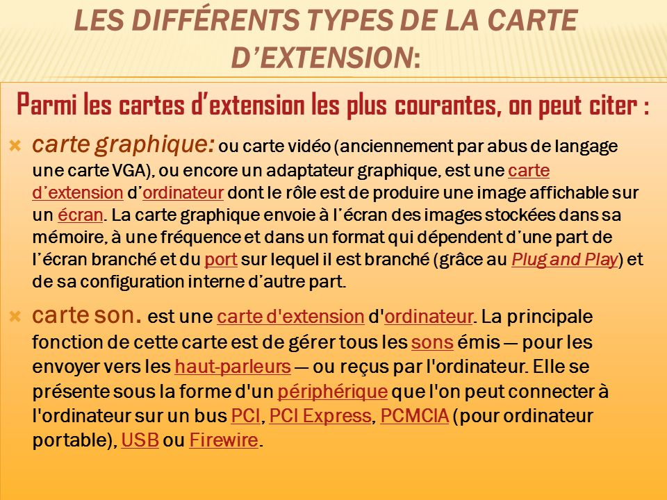 Les différents types de la carte d'extension: