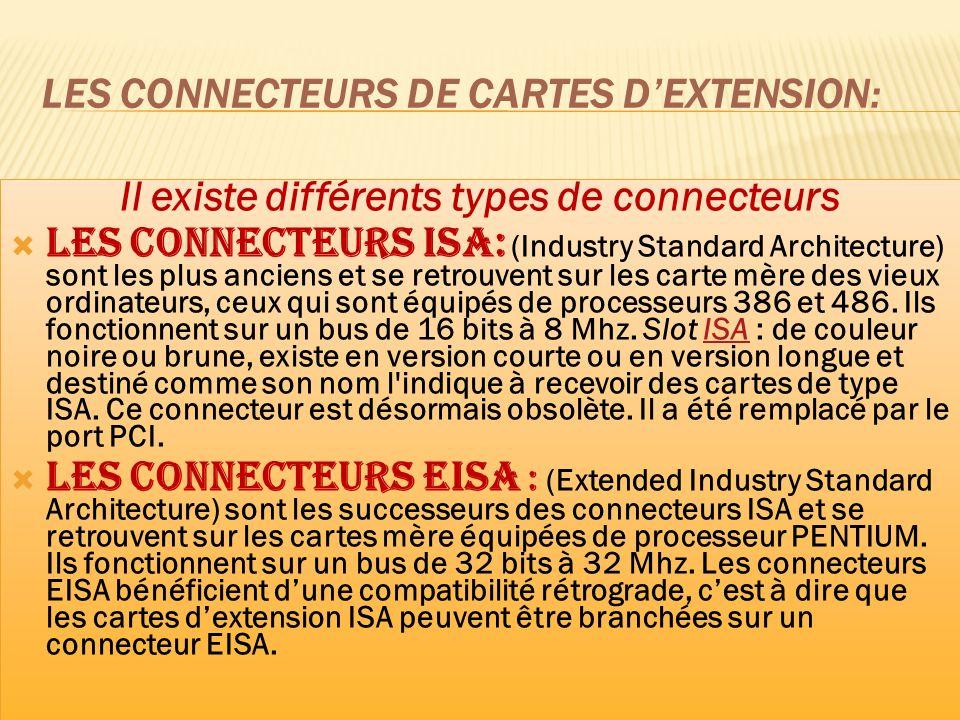 Les connecteurs de cartes d'extension:
