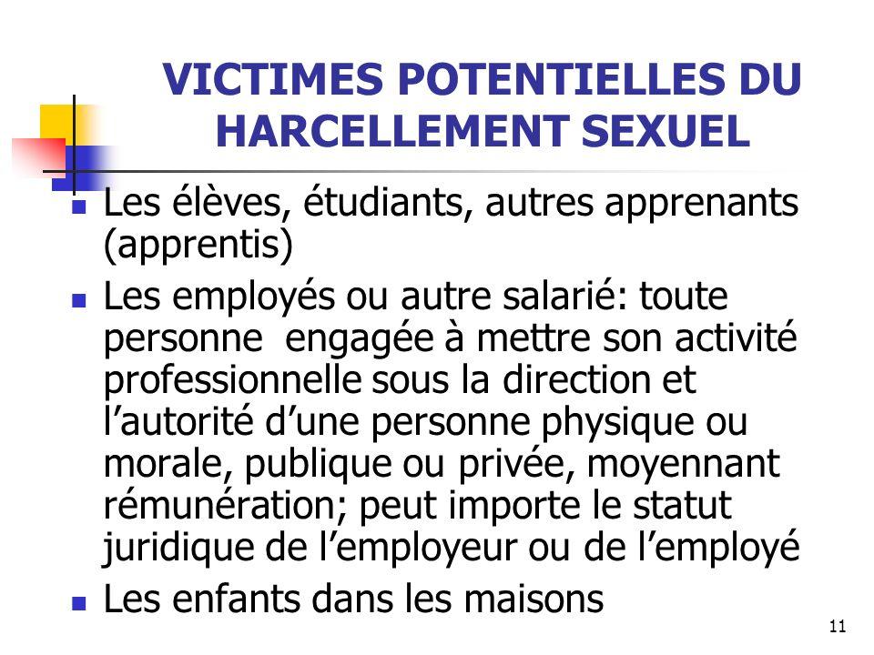 VICTIMES POTENTIELLES DU HARCELLEMENT SEXUEL
