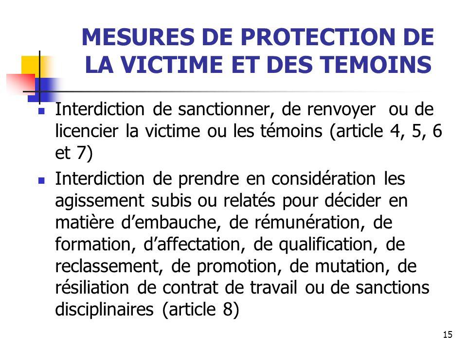 MESURES DE PROTECTION DE LA VICTIME ET DES TEMOINS