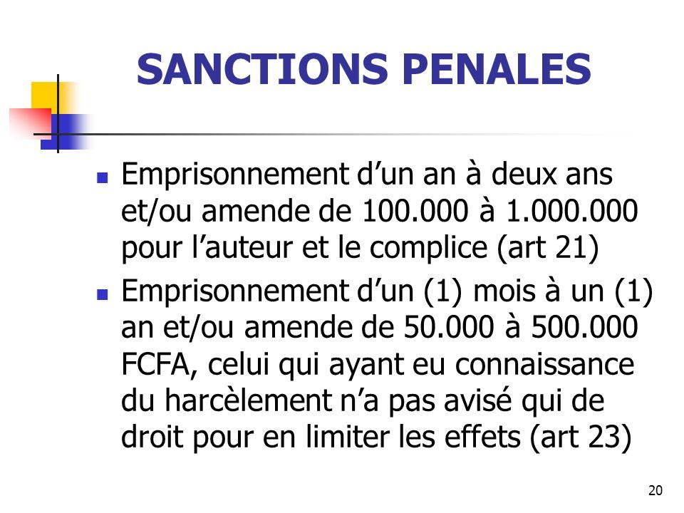 SANCTIONS PENALES Emprisonnement d'un an à deux ans et/ou amende de 100.000 à 1.000.000 pour l'auteur et le complice (art 21)