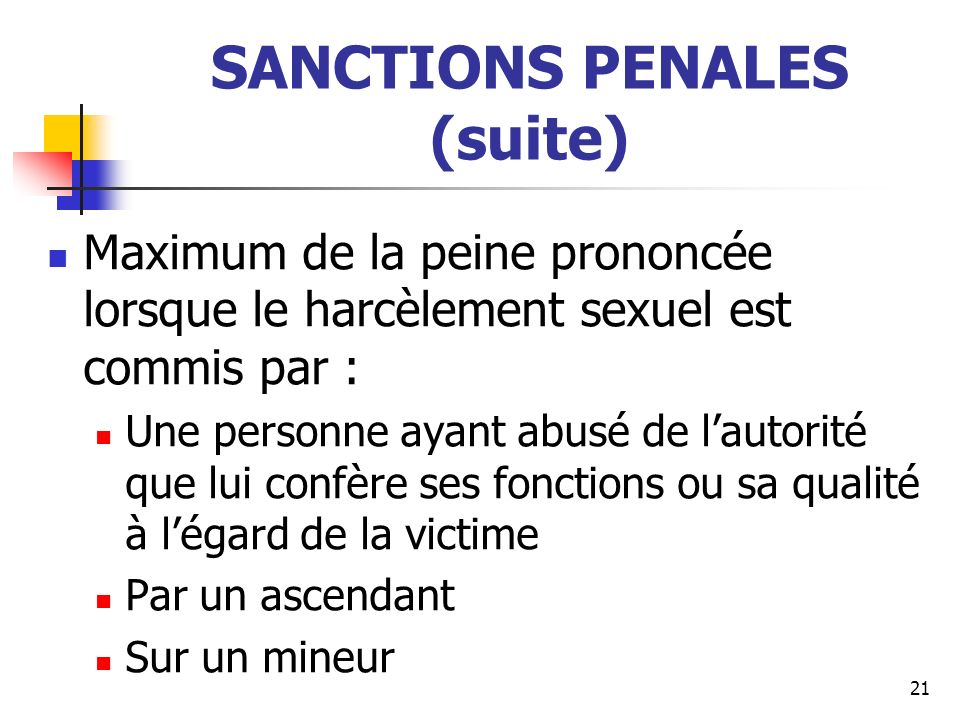 SANCTIONS PENALES (suite)