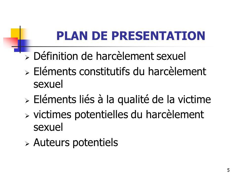 PLAN DE PRESENTATION Définition de harcèlement sexuel