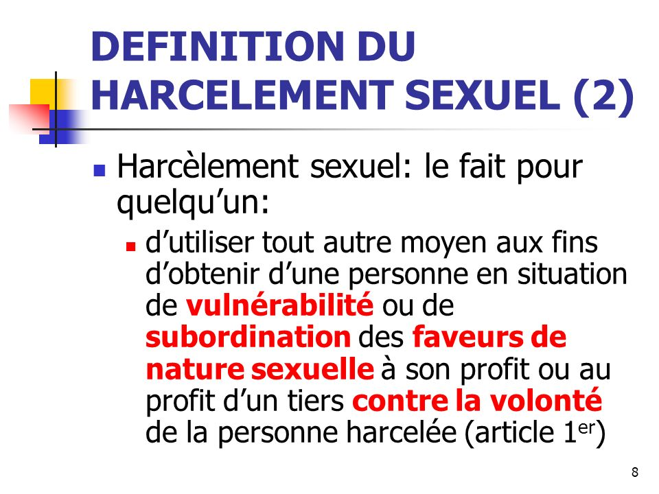 DEFINITION DU HARCELEMENT SEXUEL (2)