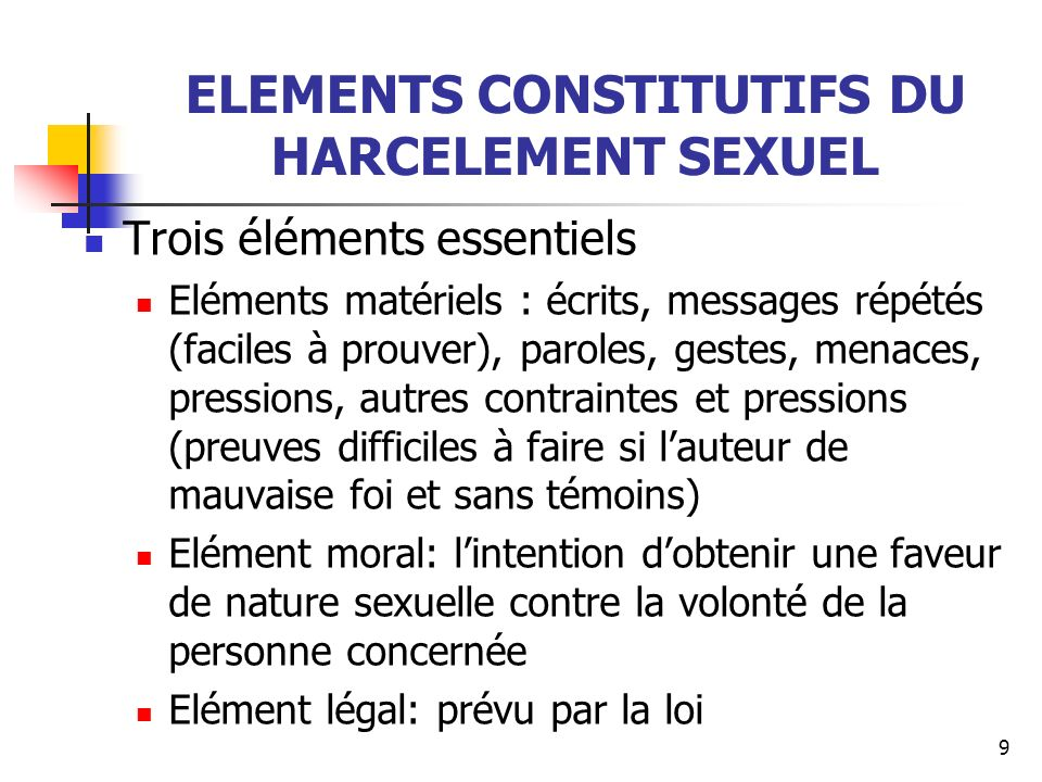 ELEMENTS CONSTITUTIFS DU HARCELEMENT SEXUEL