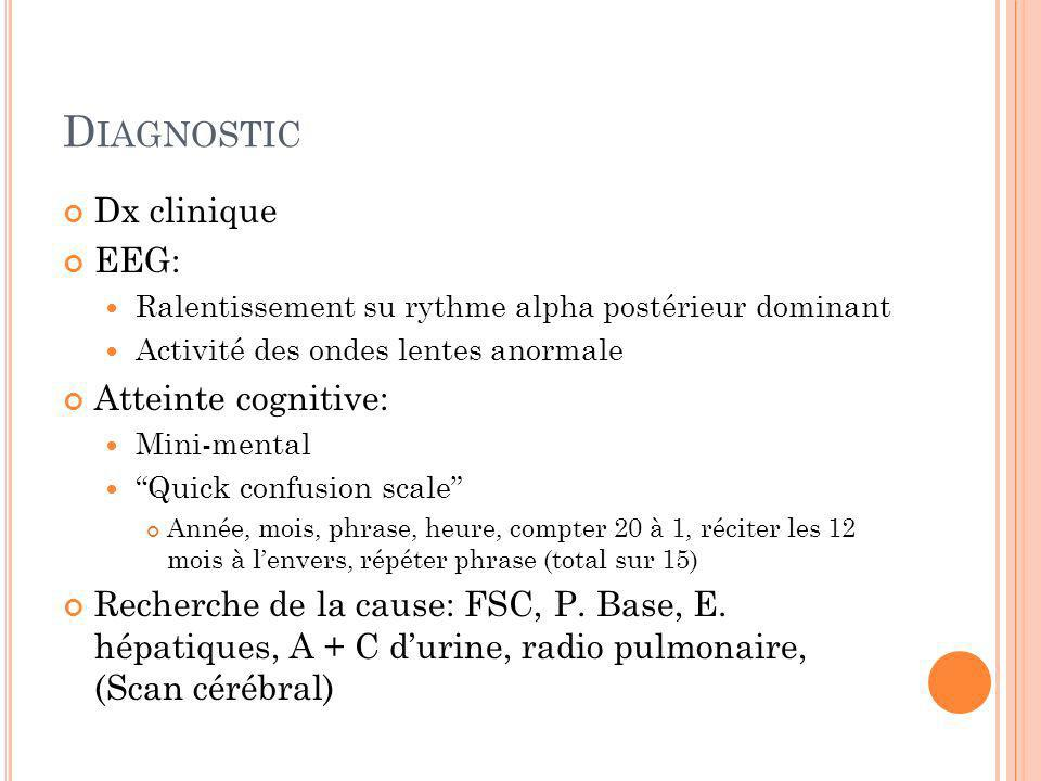Diagnostic Dx clinique EEG: Atteinte cognitive: