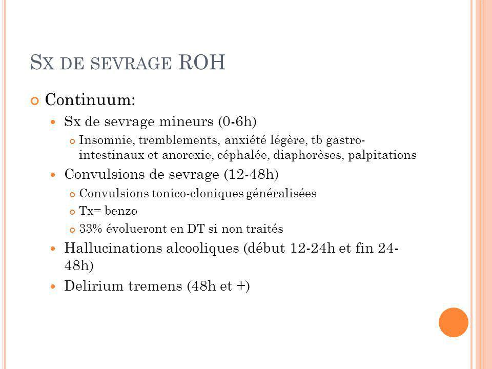 Sx de sevrage ROH Continuum: Sx de sevrage mineurs (0-6h)