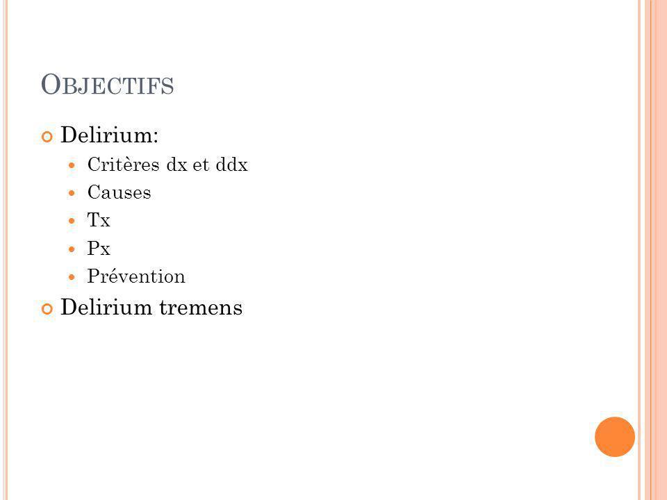 Objectifs Delirium: Delirium tremens Critères dx et ddx Causes Tx Px