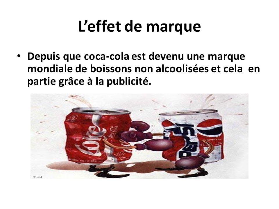 L'effet de marque Depuis que coca-cola est devenu une marque mondiale de boissons non alcoolisées et cela en partie grâce à la publicité.
